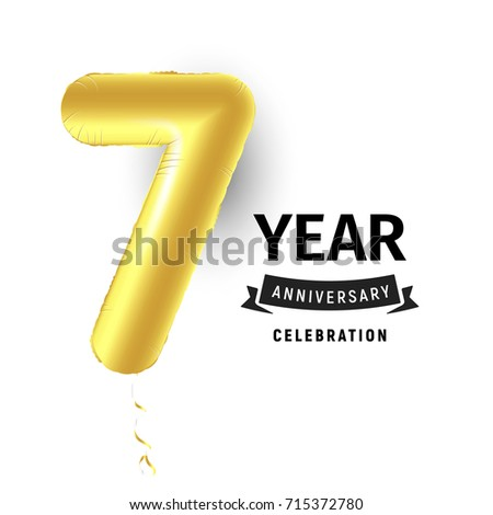 Inflatable Golden Ball One Year Symbol Stock Illustration 715372780