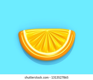 Inflatable orange slice isolated on blue background, top view. 3D rendering with clipping path