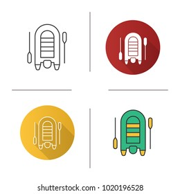 Inflatable rubber motor boat icon. Flat design, linear and color styles. Dinghy with paddles. Isolated raster illustrations