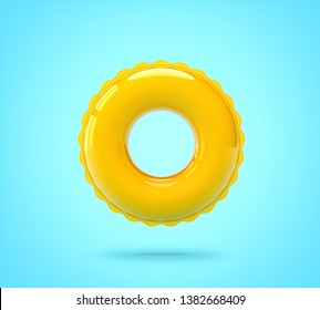Inflatable swimming ring on blue background. 3D rendering with clipping path