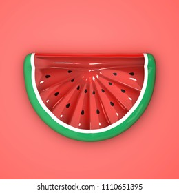 Inflatable watermelon pool float. Watermelon shape inflatable ring isolated on red background. 3D Illustration.