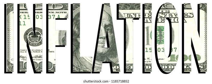 Inflation text on 100 dollar bill, 3D rendering royalty free stock illustration. Business financial data concept illustration. dollar bills with the imprint inflation. Financial business data concept
