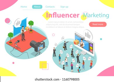 Influencer marketing flat isometric concept. Video blogger is representing a new product for its audience throw video post on its page.