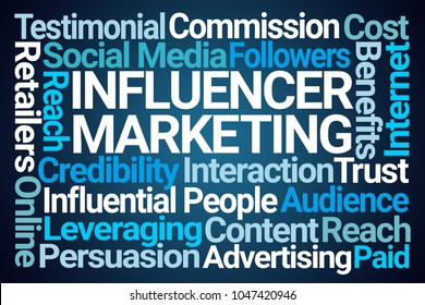 Influencer Marketing Word Cloud on Blue Background