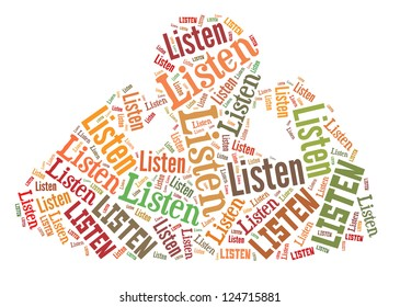 Info text graphic Listen in man listen word cloud isolated in white background