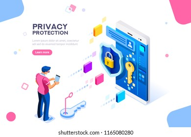 Infographic, banner with hero protect data and confidentiality. Safety and confidential data protection, concept with character saving code and check access. Flat isometric illustration.