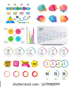 Infographic elements. Financial graph, timelines, options banner badges. Sale discount shapes, countdown timer. Analytics chart, timeline infographics. Offer layout page. graphs and charts