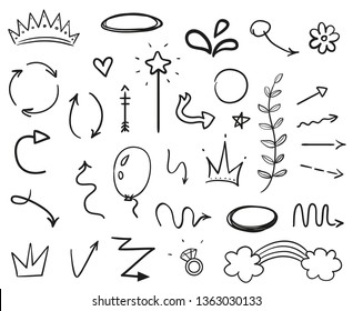 Infographic elements on isolated white background. Hand drawn simple arrows. Line art. Set of different things. Abstract signs. Black and white illustration. Doodles for artwork