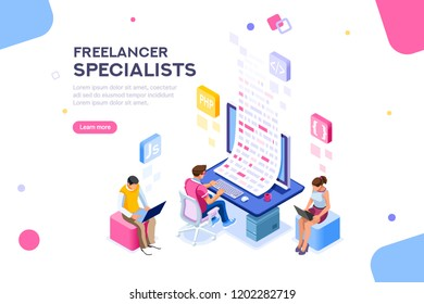 Infographic of software develop a project wireframe. Engineering desktop workstation for office specialist. Graphic for freelancer, concept with characters and text. Flat isometric illustration