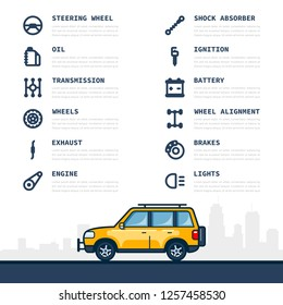 Infographic template with car and car parts icons, service and repair concept. Flat style line art illustration.