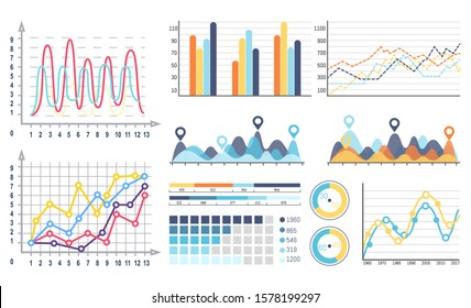 Infographics and curves pie diagrams with segments raster. Design of visualized data, visualization in flowcharts, graphs and schemes with scales
