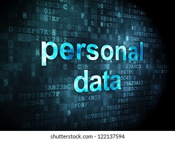 Information concept: pixelated words personal data on digital background, 3d render