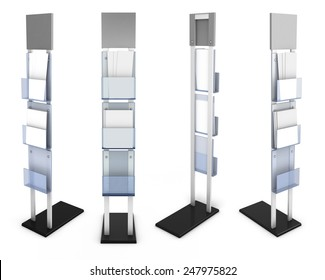 Information desk front view with material from different species isolated on white background. 3d render image.