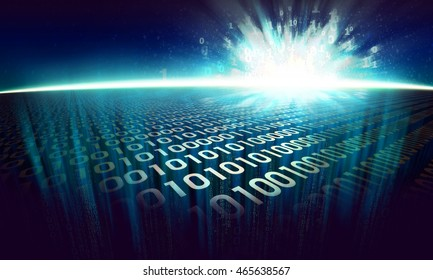 The Information Explosion On Digital Surface In Cyberspace Glowing Abstract Binary Background