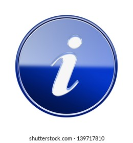 Information icon glossy blue, isolated on white background