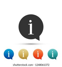 Information icon isolated on white background. Set elements in colored icons. Flat design