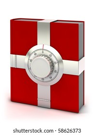 Information security concept. Red book with combination safe lock.