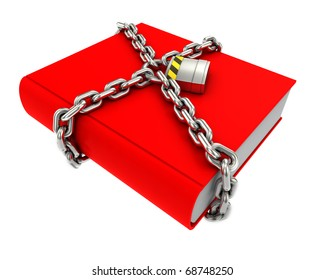 Information security concept. Red book with chain and padlock.