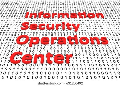 Information security operations center in the form of binary code, 3D illustration