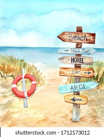 Information signpost, red white  lifebuoy on the beach. Blue sky, nice weather. Happy holiday.  Stock illustration. Hand painted in watercolor.
