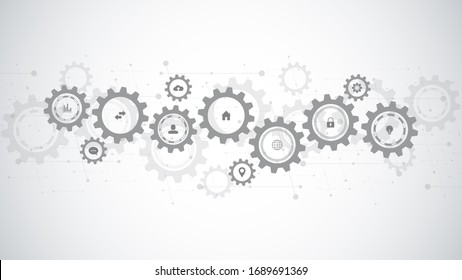 Information technology with infographic elements and flat icons. Cogs and gear wheel mechanisms. Hi-tech digital technology and engineering. Abstract technical background