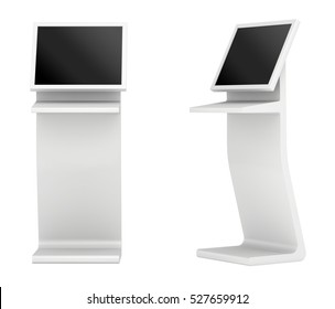 Information terminal. interactive kiosk on white background. 3d rendering.