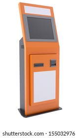 Information terminal with touch screen. Isolated render on a white background