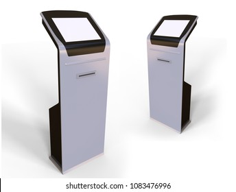 Information touch screen kiosk with ticket thermal printer and magnetic strip card reader. 3d render illustration.