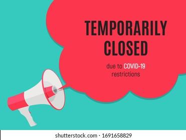 Información de advertencia temporalmente cerrada señal de noticias del coronavirus. Ilustración