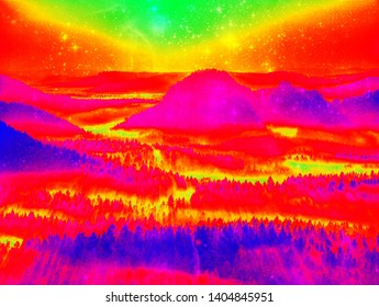 Infrared scan of hilly landscape pine forest with colorful fog hot sunny sky above