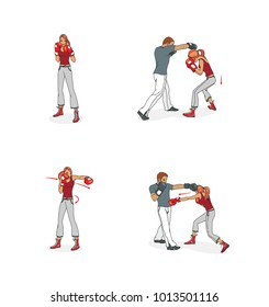 Initial boxing self-defense lessons, a girl in a boxing rack, avoiding a blow, sparring with a man. Raster illustration.  Isolated on white background