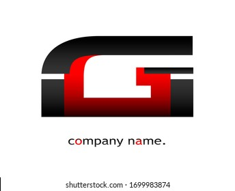 Initial Capital Letter G Font Type. Modern Company Logotype. Futuristic Dark Black and Red Graphic Design. Stylish Business Logo Icon with Gradient Template. Combined double letter. Isolated on white