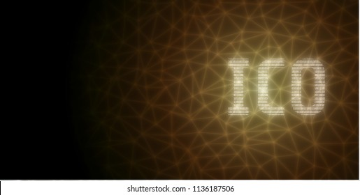 Initial Coin Offering (ICO) text written in binary format on abstract wired network background. For crypto currency, promoting, advertising purpose