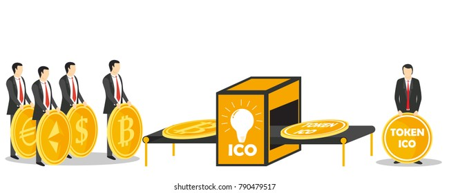 Initial coin offering or ICO token exchange concept illustration. Token sales in exchange for bitcoin, ethereum, dollar, euro.