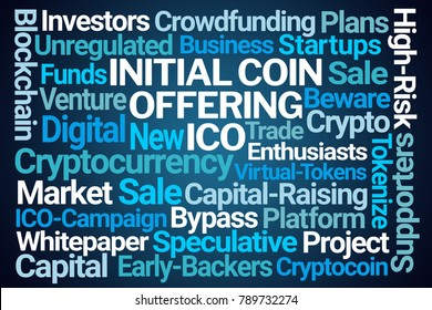 Initial Coin Offering Word Cloud on Blue Background