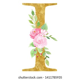 Initial I letter with blossom raster illustration. Latin vowel with beautiful blossom watercolor painting. Alphabet symbol with golden texture effect. Vintage logotype isolated on white background