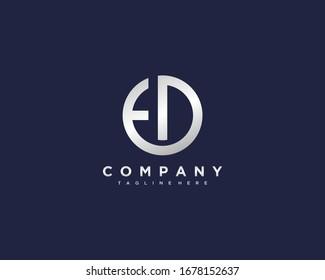 Initial Letter ED Metallic Logo, ED Letter Logo Silver, ED Logo Company, ED Logotype