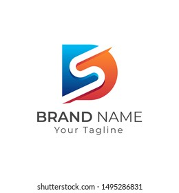 Initial letter logo DS, SD, logo template