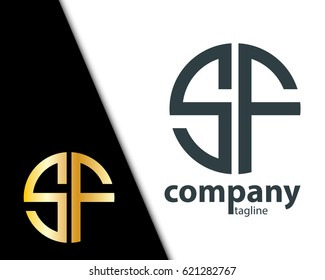Initial Letter SF With Linked Circle Logo