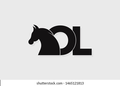Initial logo OL letter with stallion head. The combination of letters O and L is black