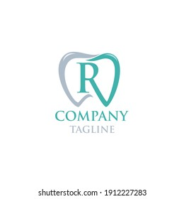 Initial R Teeth Logo; Modern, unique, simple and techie lettermark tooth logo for dentist, orthodontics and toothpaste brand. Conveys sleek, cool, stylish and professional services.