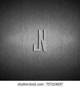 initials design logo JN on metal background