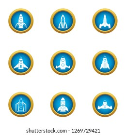Initiate of missile icons set. Flat set of 9 initiate of missile icons for web isolated on white background