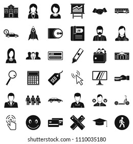 Initiation icons set. Simple style of 36 initiation icons for web isolated on white background