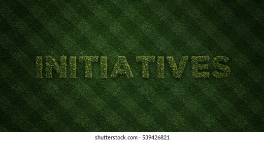 INITIATIVES - fresh Grass letters with flowers and dandelions - 3D rendered royalty free stock image. Can be used for online banner ads and direct mailers.