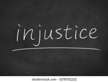 injustice concept word on a blackboard background