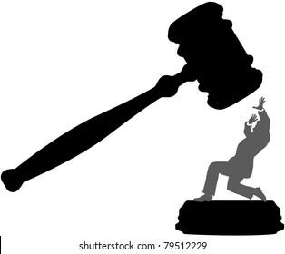 Injustice system court gavel hits person needing bail bond
