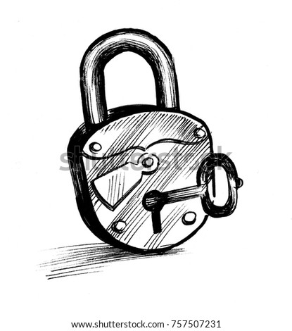 Lock and key drawing