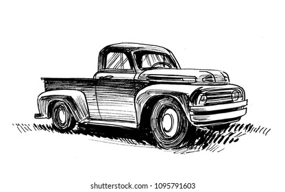 Ink black and white drawing of an old American truck