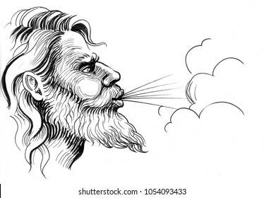 Ink black and white illustration of a blowing god of wind